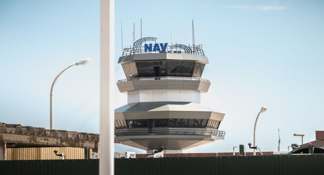 Faro, Portugal - May 3, 2018: Control Tower of Faro International Airport on a Spring Day