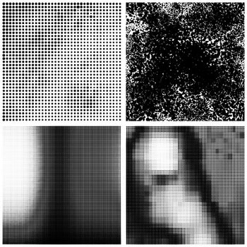 Halftone Pattern. Set of Dots. Dotted Texture on White Background. Overlay Grunge Template. Distress Linear Design.