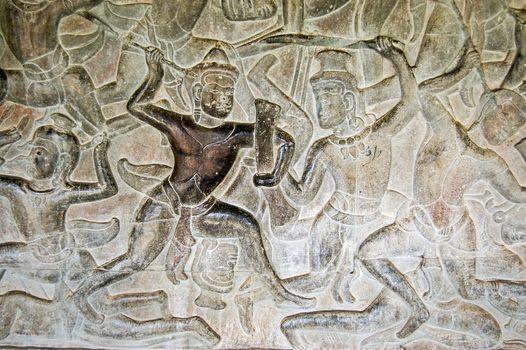 Ancient Khmer combat bas relief