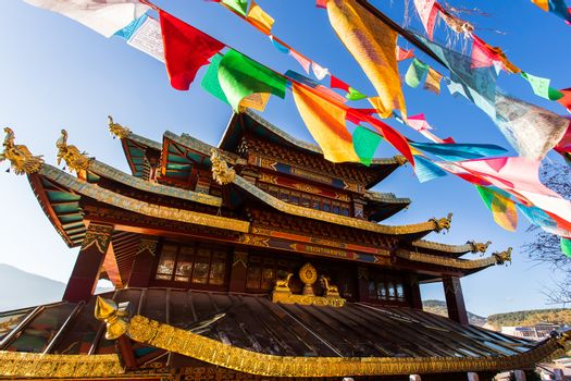 Guishan temple with giant buddhist tibetan prayer golden wheel i