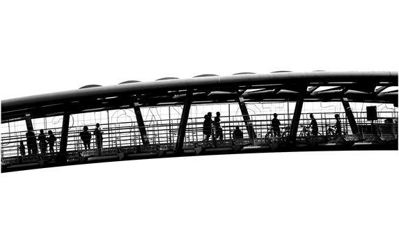 Outline silhouette of pedestrians on a bridge