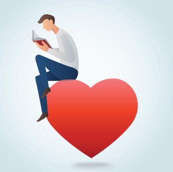 man reading book and sitting on the red heart vector illustration
