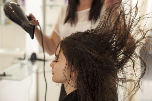 Hair drying in hair salon