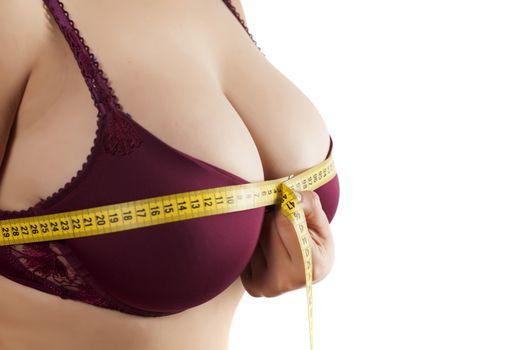 woman measured her huge breast