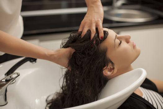 Hair washing in hair salon