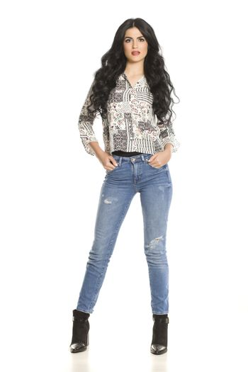 a woman in jeans