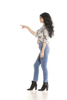 a woman touching imaginary object