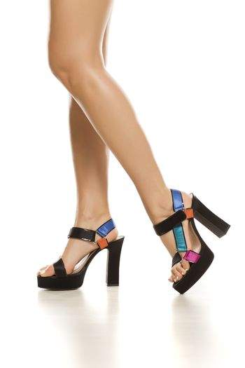 Summer sandals with high heeal