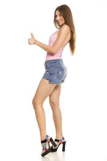 Young lady with shorts and sandals