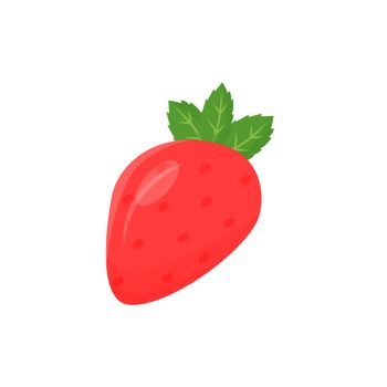 Strawberry cartoon vector illustration. Ripe juicy sweet fruit food flat color object. Good vegetarian nutrition rich in antioxidants. Healthy dietary product isolated on white background