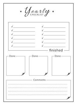 Yearly list minimalist planner page design