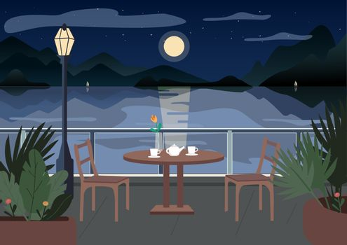 Street restaurant at night flat color vector illustration. Served cafe table on terrace. Evening dinner. Seafront 2D cartoon landscape with sailing boats, mountains and ocean on background