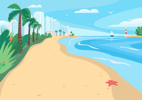 Sandy beach flat color vector illustration. Coastline with skyscrapers and tropical palms. Exotic summer seafront 2D cartoon landscape with modern city buildings on background