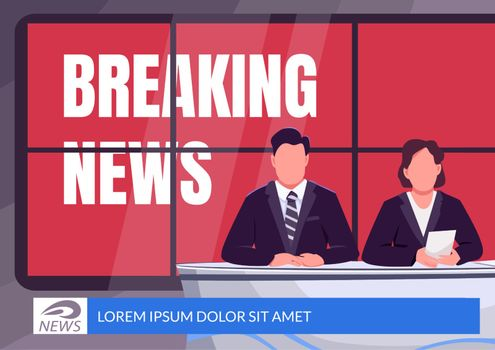 Breaking news banner flat vector template. Emergency broadcast brochure, poster concept design with cartoon characters. Professional journalism horizontal flyer, leaflet with place for text