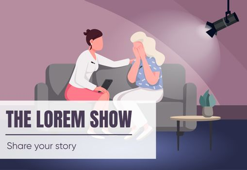 Talk show banner flat vector template. TV program brochure, poster concept design with cartoon characters. Chat show with interviews and conversations horizontal flyer, leaflet with place for text