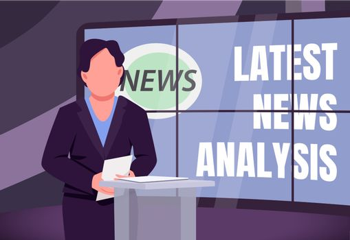 Latest news analysis banner flat vector template. Analytical TV program brochure, poster concept design with cartoon characters. Political expert opinion horizontal flyer, leaflet with place for text