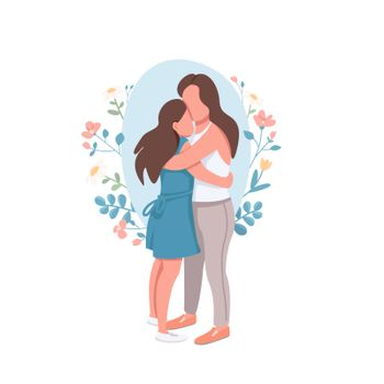 Mother and daughter flat concept vector illustration. Parent embrace teenage kid. Motherhood, parenthood. Happy family 2D cartoon characters for web design. Relatives creative idea