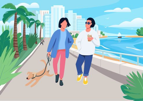 Couple with dog walking along seafront flat color vector illustration
