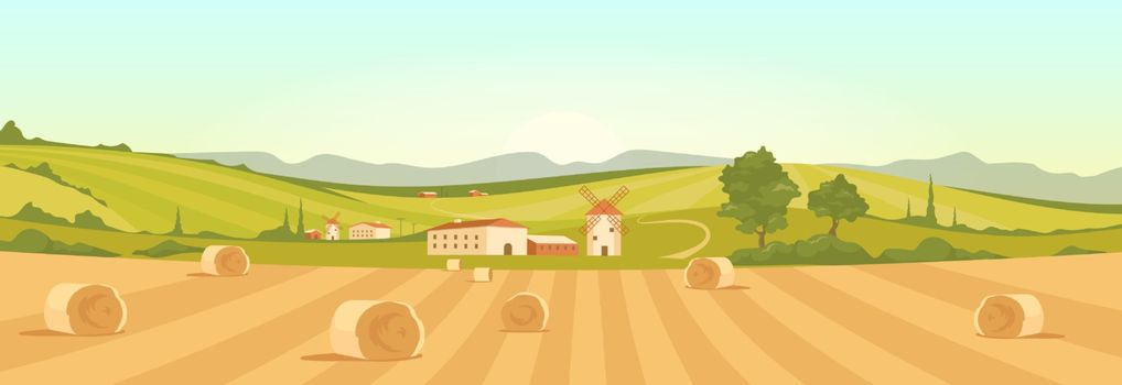 Farm in countryside flat color vector illustration. Farmland 2D cartoon landscape with mountains on background. Bales of hay on yellow agricultural field. Stacks of wheat in rural area