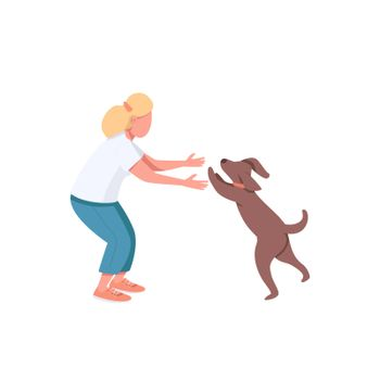 Woman play with dog flat color vector faceless characters. Female adult exercise with doggy. Domestic animal. Pet owner isolated cartoon illustration for web graphic design and animation