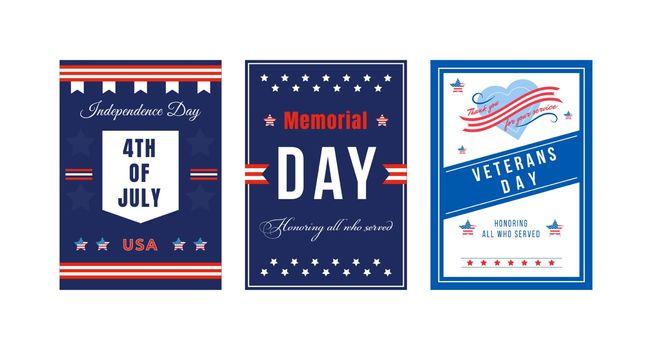 American national holiday poster flat vector templates set