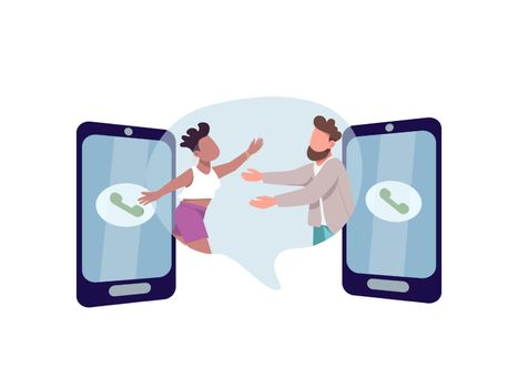 Communication flat concept vector illustration. Man and woman want to hug. Multi racial couple. Family 2D cartoon characters for web design. Connection through phone call creative idea