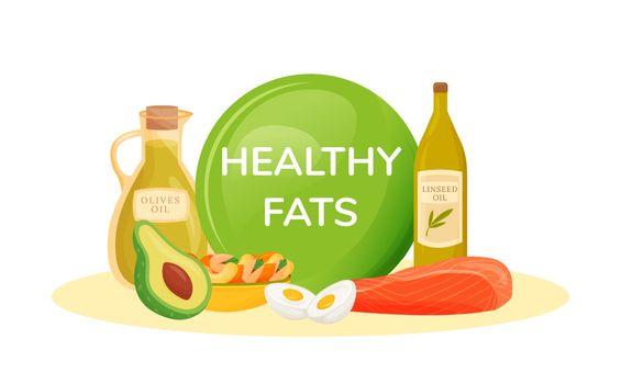 Foods containing healthy fats cartoon vector illustration