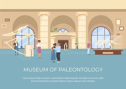 Museum of paleontology poster flat vector template