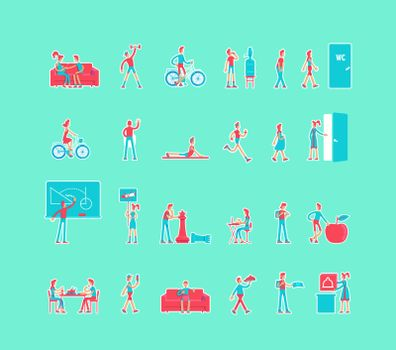 Healthy lifestyle cartoon vector characters set. Pregnant woman. Active life constructor. Man and woman flat color illustrations collection. Body care isolated pack on turquoise background