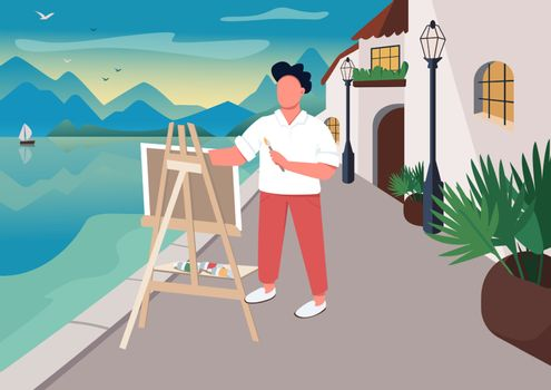 Artist painting at seaside flat color vector illustration