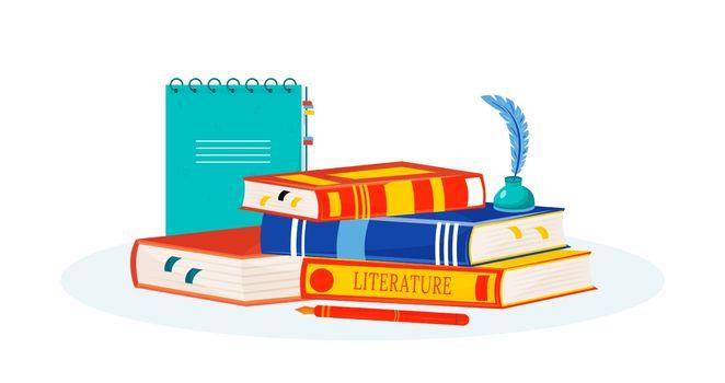 Literature flat concept vector illustration