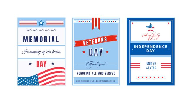 US national holiday poster flat vector templates set