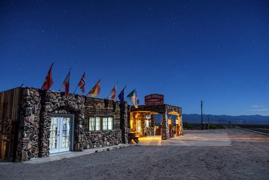 Night sky above rebuilt cool Springs station on historic route 66