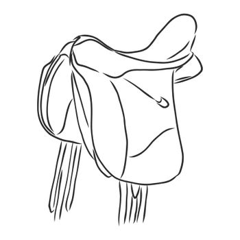 Classic equine saddle, horse equipment for ride. hand drawn illustration in engraved style.