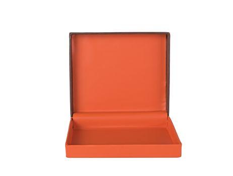 Orange gift box isolated on white background