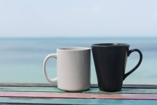 Couple coffee cup on vintage table
