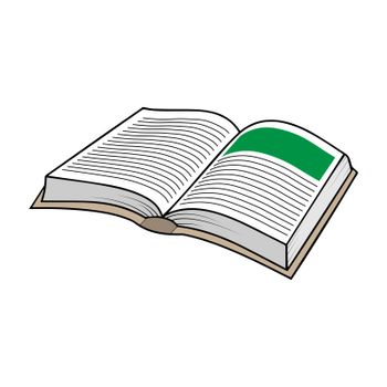 Color illustration of an open book, simple drawing