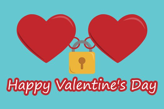 Two hearts are connected by a castle, Valentine's Day.