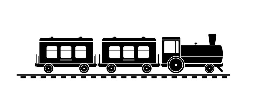 train with steam locomotive and passenger cars, simple icon