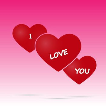 Three hearts labeled I love you. Valentine's day greetings