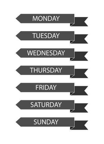 Set of ribbons with the inscription days of the week for design and decoration