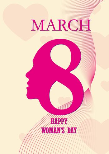 Cover or postcard for congratulations on March 8, International Women's Day
