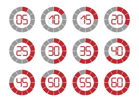 set of symbols of stopwatches with a time stamp red