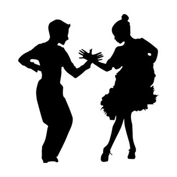 Black silhouette of dancing couple on white background