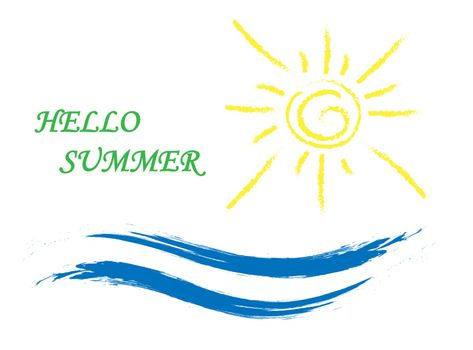 Sun and wave with the inscription Hello summer, simple drawing
