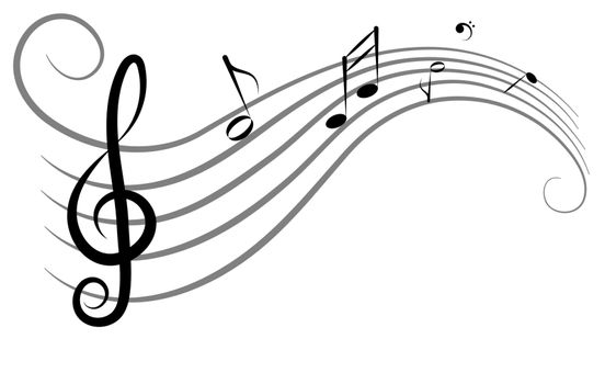 Abstract music background for design, violin key and notes