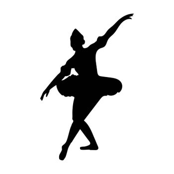 Ballet dancer in silhouette dancing in position or pose