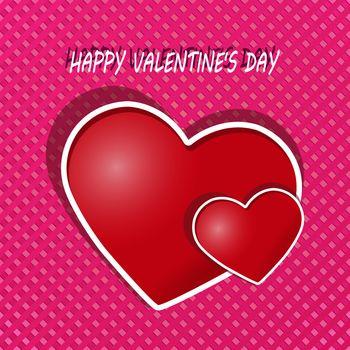two hearts and a congratulatory inscription happy Valentine's day