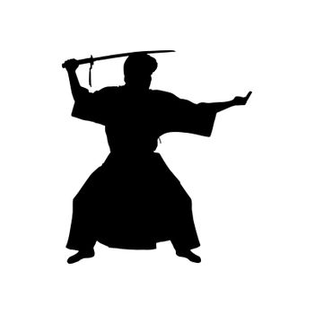 Silhouette of Japanese samurai warrior, simple pattern