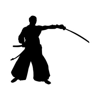 Silhouette of a Japanese samurai warrior, simple drawing